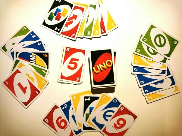 UNO cards set out as in a standard game